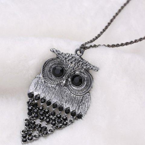 Cheap Vintage Alloy Owl Sweater Chain For Women - BLACK  Mobile