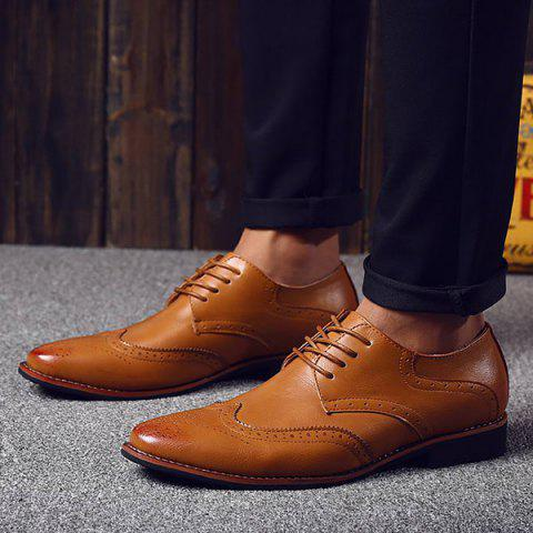 Hot Stylish Tie Up and Wingtip Design Formal Shoes For Men - 41 BROWN Mobile