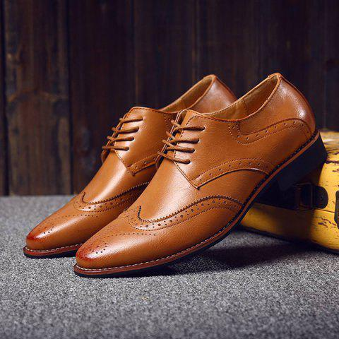 Discount Stylish Tie Up and Wingtip Design Formal Shoes For Men - 41 BROWN Mobile