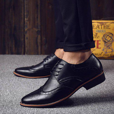 Hot Stylish Tie Up and Wingtip Design Formal Shoes For Men - 42 BLACK Mobile