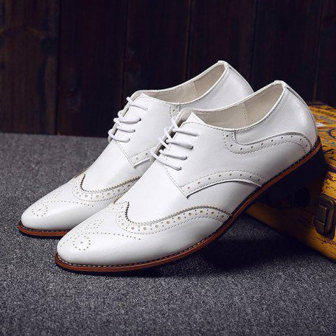 Outfits Stylish Tie Up and Wingtip Design Formal Shoes For Men - 41 WHITE Mobile