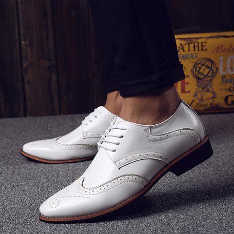 Fancy Stylish Tie Up and Wingtip Design Formal Shoes For Men - 40 WHITE Mobile