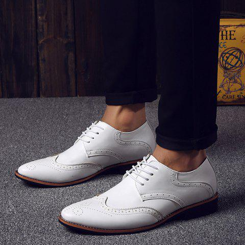 Outfits Stylish Tie Up and Wingtip Design Formal Shoes For Men - 40 WHITE Mobile