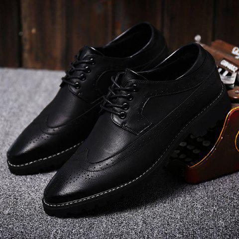 Outfit Stylish PU Leather and Tie Up Design Formal Shoes For Men - 44 BLACK Mobile