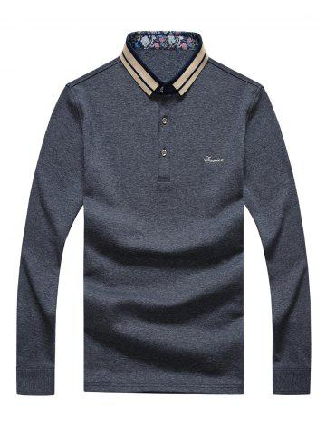 Store Splicing Design Polo Collar Letter Embroidered Long Sleeve T-Shirt For Men
