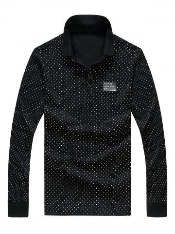 Best Polo Collar Letter Print Long Sleeve Polka Dot T-Shirt For Men