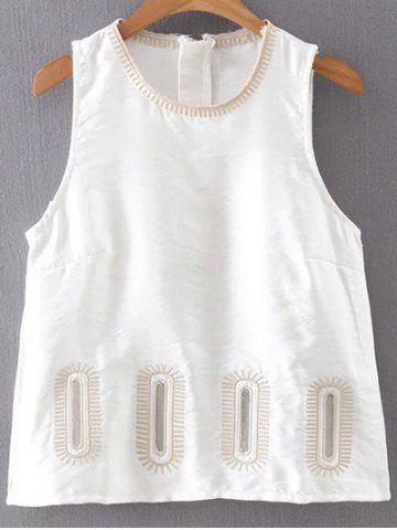 Hot Stylish Round Collar Embroidery Women's Tank Top