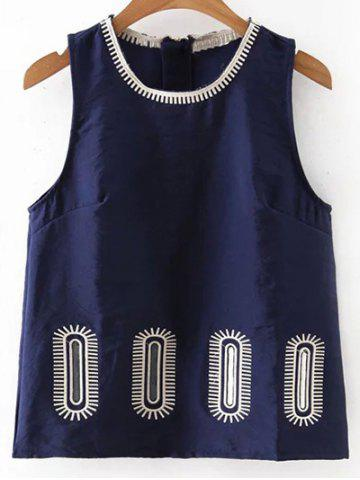 Fancy Stylish Round Collar Embroidery Women's Tank Top