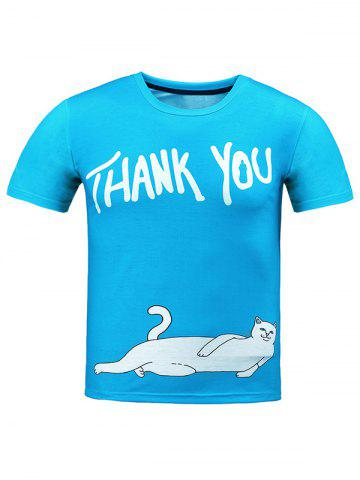 Outfits Round Neck Letter and Cat T-Shirt