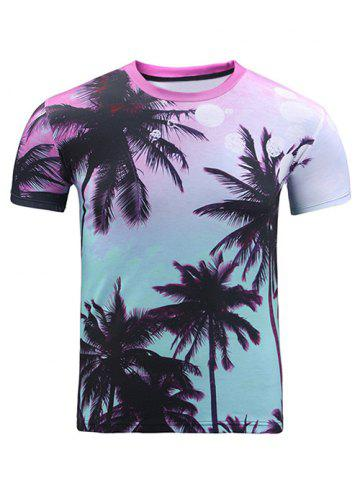 Chic 3D Ombre Trees Print Round Neck Short Sleeve T-Shirt For Men COLORMIX 2XL