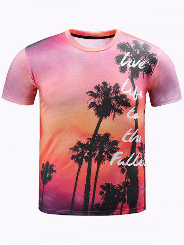 Unique 3D Ombre Trees and Letters Print Round Neck Short Sleeve T-Shirt For Men RED 2XL