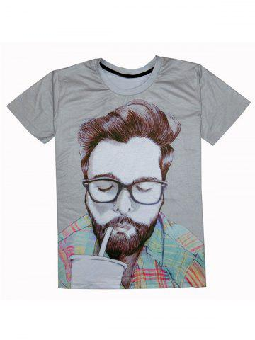 Sale Round Neck Short Sleeve Figure 3D Print T-Shirt For Men GRAY 2XL