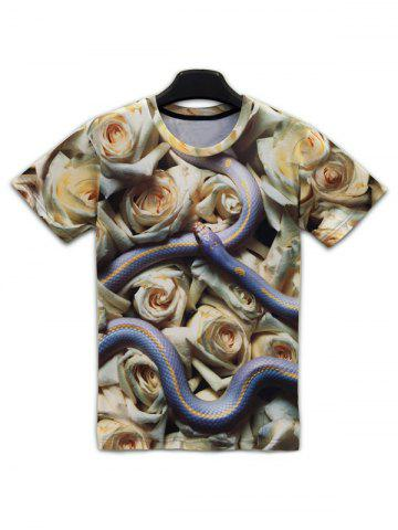 New Floral 3D Print Round Neck Short Sleeve T-Shirt For Men