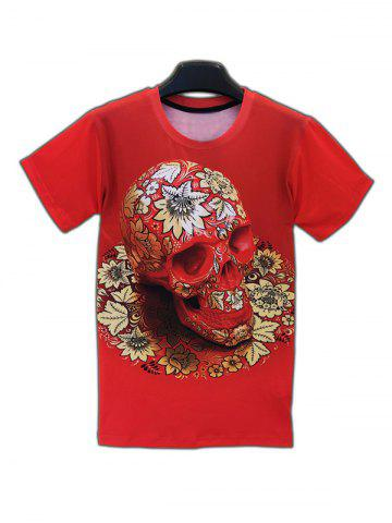 Latest Skull Floral 3D Print Round Neck Short Sleeve T-Shirt For Men