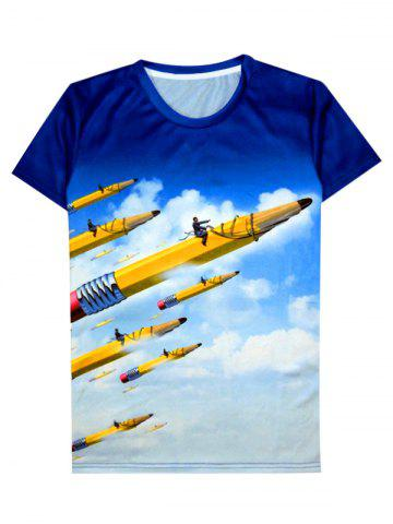 Affordable 3D Abstract Volitant Pencil Pattern Round Neck Short Sleeve T-Shirt For Men COLORMIX 2XL
