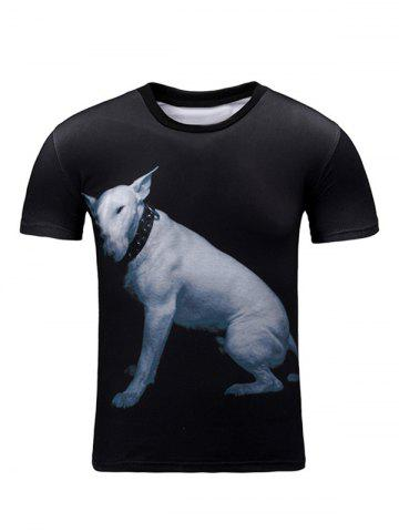 New Puppy 3D Print Round Neck Short Sleeve T-Shirt For Men BLACK 2XL