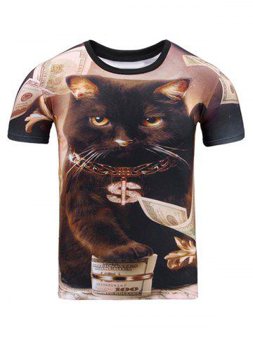 Discount Cat 3D Print Round Neck Short Sleeve T-Shirt For Men BROWN 2XL