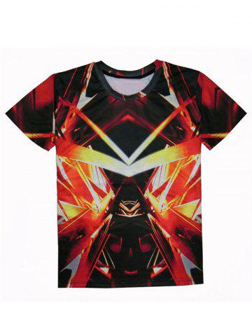 Cheap Round Neck Short Sleeve Abstract 3D Print T-Shirt For Men RED XL