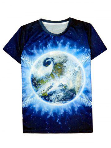 Sale Earth 3D Print Round Neck Short Sleeve T-Shirt For Men