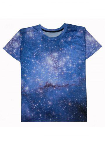 Best Starry Sky 3D Galaxy Print Trippy T-shirt BLUE 2XL