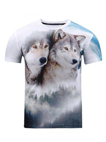 Shop Wolf 3D Print Crew Neck T Shirt WHITE 2XL