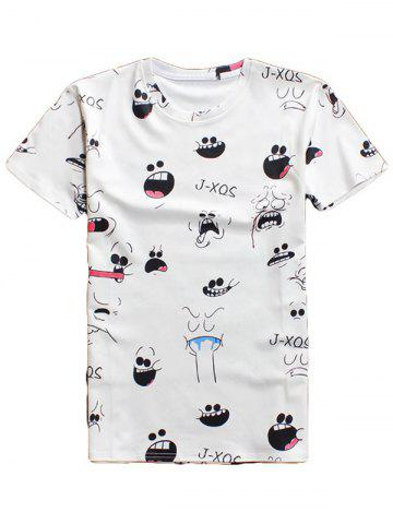 Online 3D Cartoon Expression Round Neck Character T-Shirt WHITE L