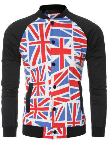 The Union Jack Printed Baseball Collar Spliced Long Sleeve Jacket For Men - Colormix - M