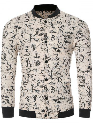 Sale Ancient Letter Print Bomber Collar Long Sleeve Jacket OFF WHITE L