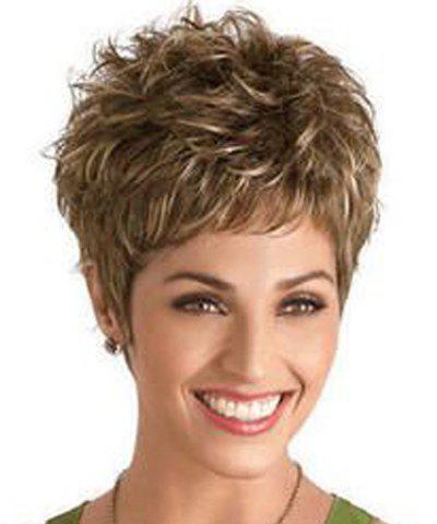 Unique Fluffy Natural Wave Synthetic Spiffy Short Pixie Cut Brown Mixed Wig For Women