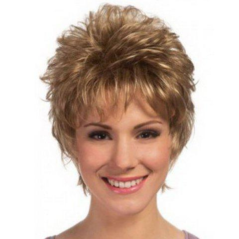 Best Noble Short Pixie Cut Synthetic Fluffy Natural Wave Blonde Mixed Brown Wig For Women