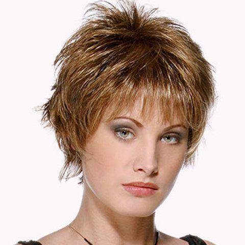 Buy Fashion Dark Brown Mixed Synthetic Straight Short Pixie Cut Wig For Women