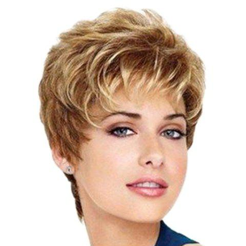 Fashion Gorgeous Brown Mixed Synthetic Fluffy Straight Short Pixie Cut Wig For Women