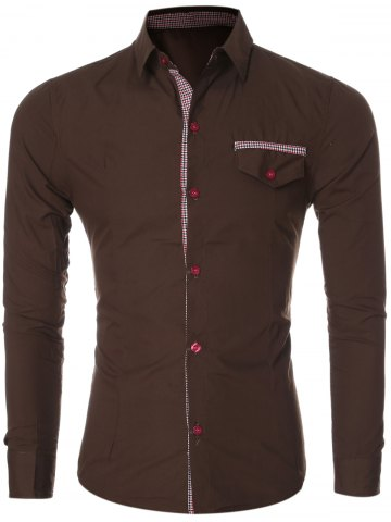 Plaid Spliced Long Sleeve Slim-Fit Formal Shirt - Coffee - M