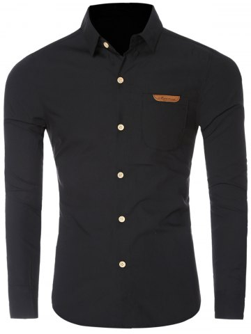 Buy Chic Pocket Hem Turn-Down Collar Long Sleeve Shirt For Men