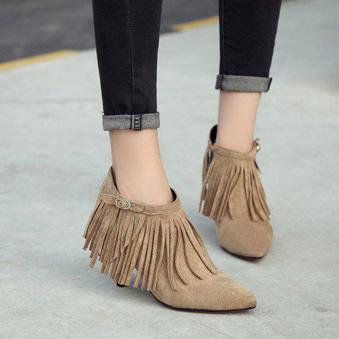 Cheap Side Zip Pointed Toe Fringe Ankle Boots CAMEL 39