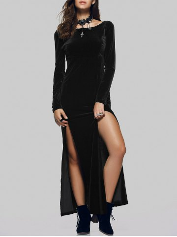 Fashion Maxi Velvet Slit Long Sleeve Party Dress BLACK XL