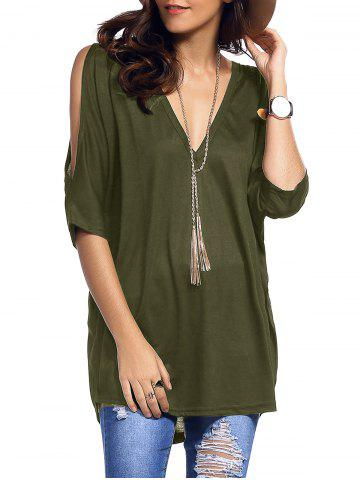 Sale Cold Shoulder Asymmetrical Low Cut V Neck Tee ARMY GREEN XL