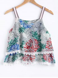 Stylish Spaghetti Strap Floral Print Lace Panelled Top For Women -