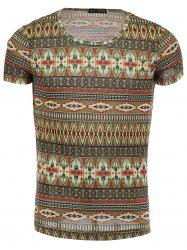 Round Neck Ethnic Style Geometric Pattern Short Sleeve T-Shirt For Men