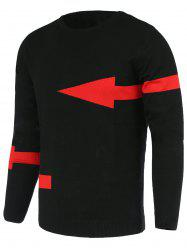 Solid Color Arrows Pattern Slimming Round Neck Long Sleeves Sweater For Men -