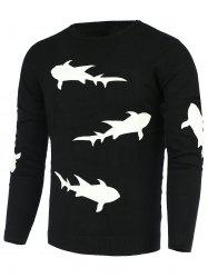 Laconic Round Neck 3D Shark Pattern Slimming Long Sleeves Sweater For Men - BLACK