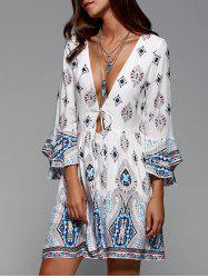 Plunging Neck Flare Sleeve Tribal Print Dress -
