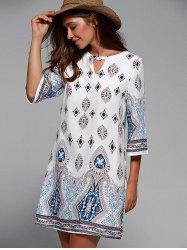 Cut Out Half Sleeve Tribal Print Dress