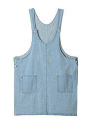 Plus Size Side Button Denim Pinafore Dress