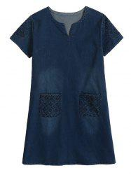 Plus Size Casual Distressed Embroidery Pockets Dress