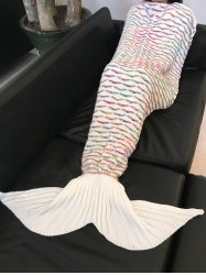 Chic Quality Scrambled Pattern Warmth Knitted Mermaid Tail Design Blanket