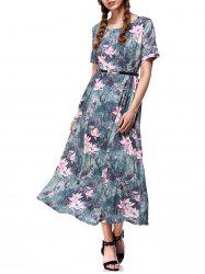 Lotus Flower Print Full Maxi Dress