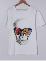 Fashionable Short Sleeves Round Collar CrossBones Printing With T-Shirt For Men - WHITE M