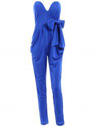 Stylish Strapless Sleeveless Solid Color Lace-Up Women's Jumpsuit