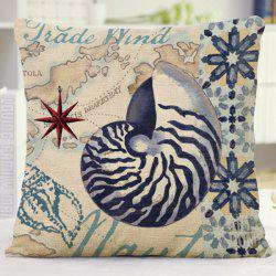 Chic Style Flower Letter Conch Pattern Flax Sofa Pillow Case -